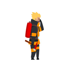 fireman with fire extinguisher and ax firefighter vector image
