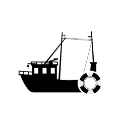 Fishing boat and life preserver icon vector