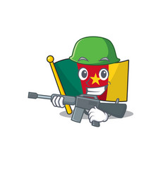 Flag cameroon cartoon in character shape army vector