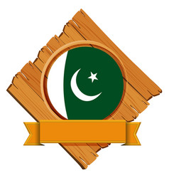 Flag of pakistan on wooden board vector