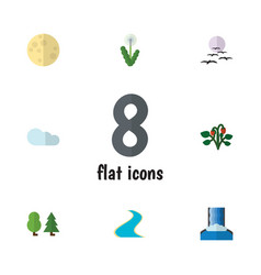 Flat icon bio set of overcast gull cascade and vector