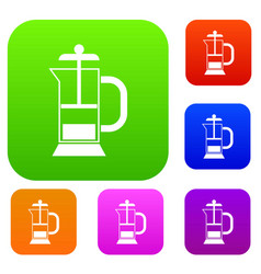 French press coffee maker set collection vector