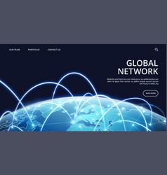 Global network landing page internet and vector