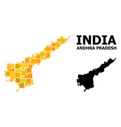 Gold square pattern map andhra pradesh state vector