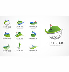 golf club icons symbols elements and logo vector image