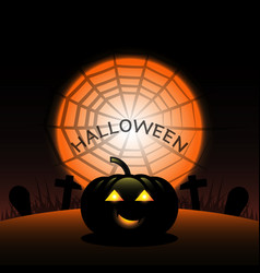 halloween pumpkin created spider web moon vector image
