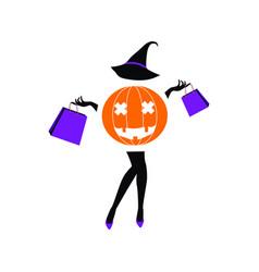 halloween sale fashion girl vector image