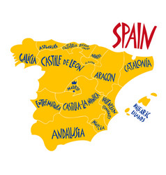 hand drawn stylized map spain kingdom travel vector image