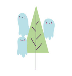 happy halloween celebration scary ghosts and tree vector image
