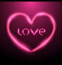 heart design with pink neon light and letter love vector image