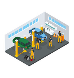 Isometric car repair service template vector