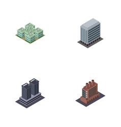 Isometric urban set of industry clinic tower and vector