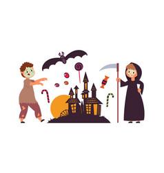kids wear halloween costumes zombie boy girl vector image
