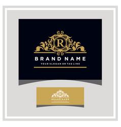 Letter r logo design concept royal luxury gold vector