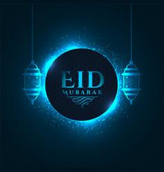 Lovely glowing blue eid mubarak festival greeting vector