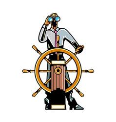 Man holding steering wheel vector