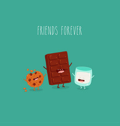 milk chocolate cookies friends forever vector image