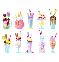 Milkshakes healthy ice-cream drink in glass vector