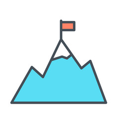 Mountains with flag on peak line icon vector