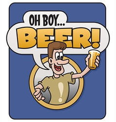 Oh Boy Beer design vector image
