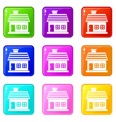 One-storey house icons 9 set vector
