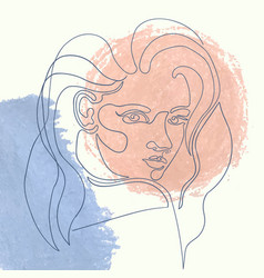 outline woman on abstract vector image