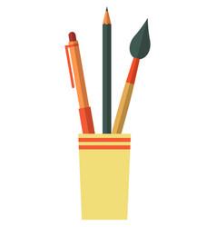 Pencil cup pen holder office or school vector