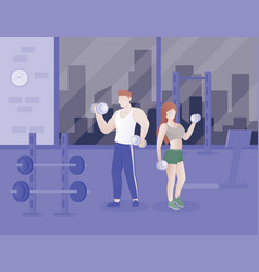 people doing fitness in gym vector image
