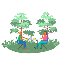 people picnic near trees leisure outdoor vector image