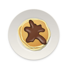 Realistic pancake with chocolate on a white plate vector