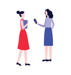 refer a friend concept with girlfriends vector image