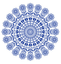Scandinavian folk art mandala with flowers vector