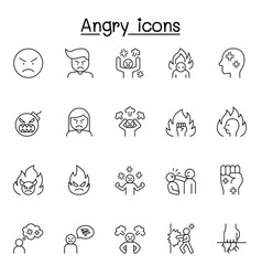 Set angry related line icons contains vector