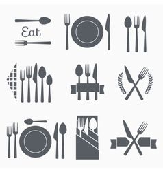 Set cutlery icons vector