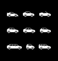 Set glyph icons car vector