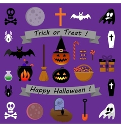 set halloween icons - stock vector image