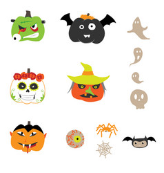 set of halloween pumpkin monsters designs vector image