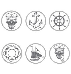 Set of vintage labels with boat captain skull vector