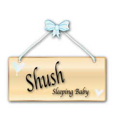 Shush sleeping baby sign vector