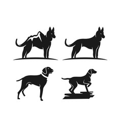 silhouette animal dog logo design vector image