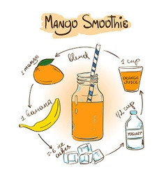 Sketch Mango smoothie recipe vector image