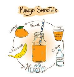 Sketch Mango smoothie recipe vector
