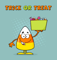Smiling candy corn cartoon character holds a box vector