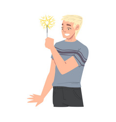 Smiling man holding burning sparkler guy in vector