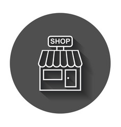 store icon shop build on black round background vector image