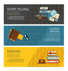 story telling and content writing reading web page vector image