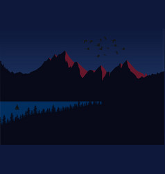 sun setting over mountain peaks dark landscape vector image