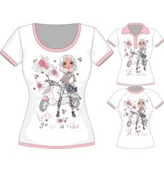 T-shirt with fashion girl and scooter vector