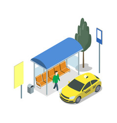 Taxi waiting station isometric 3d icon vector