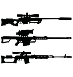 Three sniper rifles vector